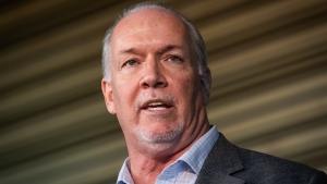 B.C. Premier John Horgan speaks in Vancouver, on Thursday, Sept. 16, 2021. (Darryl Dyck / THE CANADIAN PRESS)