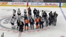 The Edmonton Oilers took to the ice at Rogers Place on Thursday, Sept. 23 for the team's first official skate ahead of the 2021-22 season. (Sean McClune/CTV News Edmonton)