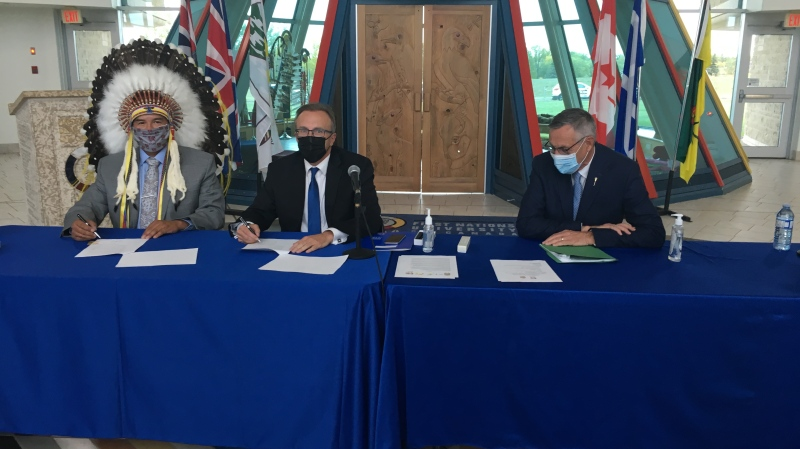 The Government of Saskatchewan and the Federation of Sovereign Indigenous Nations (FSIN) signed an amendment to the province's gaming framework, which details an even split of revenue from a new gaming site between the two parties. (Taylor Rattray/CTV News)