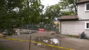 A backyard second-suite is under construction in a Barrie, Ont., neighbourhood. Thurs., Sept. 23, 2021 (Katelyn Wilson/CTV News)