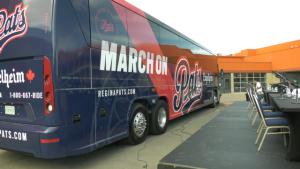 The Regina Pats reveal the new bus wrap ahead of their 2021-22 regular season. (Claire Hanna/CTV News)