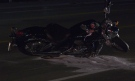 A motorcycle was involved in a crash on County Road 90 in Utopia on Thurs. Sept 23, 2021 (Dave Erskine/CTV News Barrie)