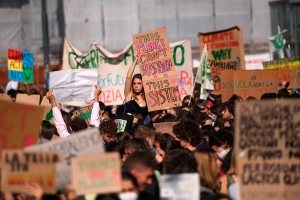 Students march as part of the Fridays for Future climate movement's initiatives, in Turin, Italy, Friday, Sept. 24, 2021. (Marco Alpozzi/LaPresse Via AP)