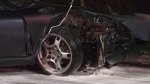 The front of a vehicle is smashed after a crash in Springwater on Thursday, September 23 (Dave Erskine/CTV News)