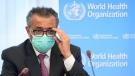 Tedros Adhanom Ghebreyesus, Director General of the World Health Organization (WHO), speaks at the WHO headquarters, in Geneva, Switzerland, on May 24, 2021. (Laurent Gillieron / Keystone via AP, File)
