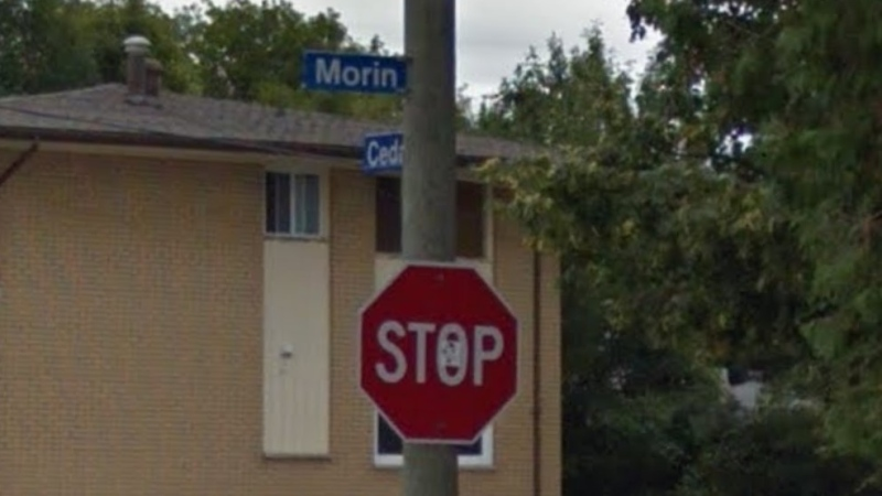 Street signs for Morin and Cedar streets in North Bay. (Google)
