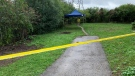 Police say a person was found dead beside a trail near Paulander Drive in Kitchener. (Sept. 24, 2021)