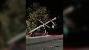 The pole was knocked over at the corner of Roblin and Shenfield Roads. (Source: Manitoba Hydro)