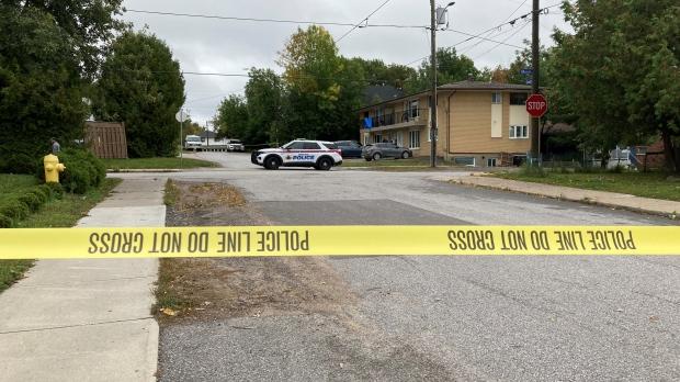 Caution tape on Cedar Street in North Bay. Sept. 24/21 (Eric Taschner/CTV Northern Ontario)