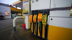 A petrol station in Liverpool, England, closed due to having no fuel on Sept. 23, 2021. (Peter Byrne / PA via AP)