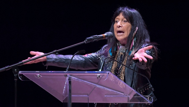 In this file photo from April 17, 2018, Buffy Sainte-Marie talks about diversity and inclusion at the Belong Forums, a public lecture series as part of the Year of Belonging, in honour of Dalhousie University's 200th anniversary, in Halifax. THE CANADIAN PRESS/Andrew Vaughan