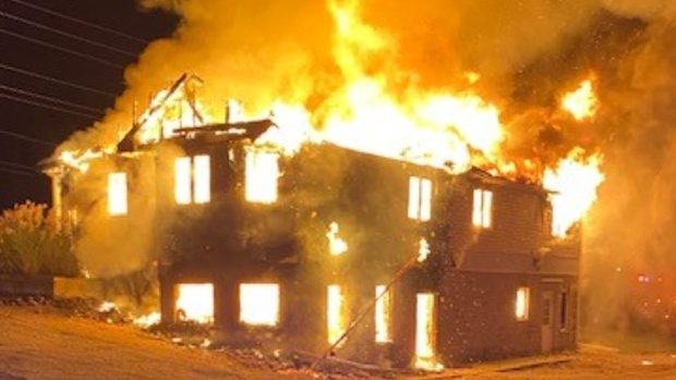 The Wasaga Beach Fire Department set fire to the former Chamber of Commerce building on River Road West Thurs., Sept. 23, 2021, for training. (Supplied)