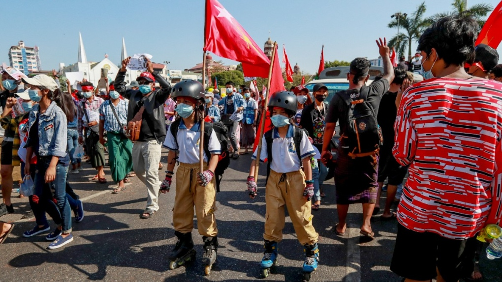 Children among protesters in Yangon, Myanmar