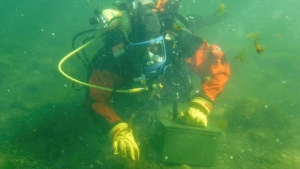 Regina Fires diving instructor Luke Sitter, searches the bottom of Lovering Lake. (Courtesy: Gareth Dillistone/CTV News)