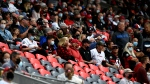 Fans wait for the first half CFL football action between the BC Lions and the Ottawa Redblacks in Ottawa on Saturday, Aug. 28, 2021. (Justin Tang /THE CANADIAN PRESS)