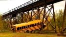 A bus crashed into train tracks west of Edmonton. (RCMP)