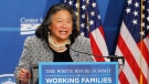 In this June 23, 2014, file photo, Tina Tchen, speaks at The White House Summit on Working Families at a hotel in Washington. (AP Photo/Charles Dharapak, File)