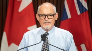 Dr Kieran Moore, the Chief Medical Officer of Health of Ontario, attends an announcement at the Ontario Legislature on Tuesday September 14, 2021. THE CANADIAN PRESS/Chris Young