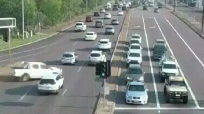 WATCH: Out-of-control car misses lanes of traffic