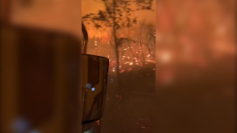 Dramatic video from California shows the conditions facing crews as they fight the Windy Fire, which has grown to nearly 50,000 acres.