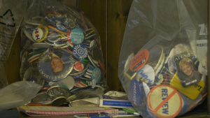 Bags of American political buttons owned by Bill Greenberg of Smiths Falls, Ont. (Nate Vandermeer/CTV News Ottawa)