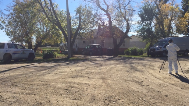 RCMP could be seen at a home in Choiceland, Sask. Sept. 24, 2021. (Lisa Risom/CTV News)