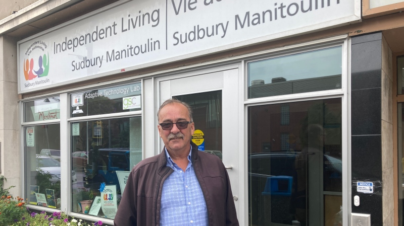 Sudbury City Councillor Bill Leduc in front of Independent Living Sudbury-Manitoulin on Durham Street. Sept. 24/21 (Alana Everson/CTV Northern Ontario)