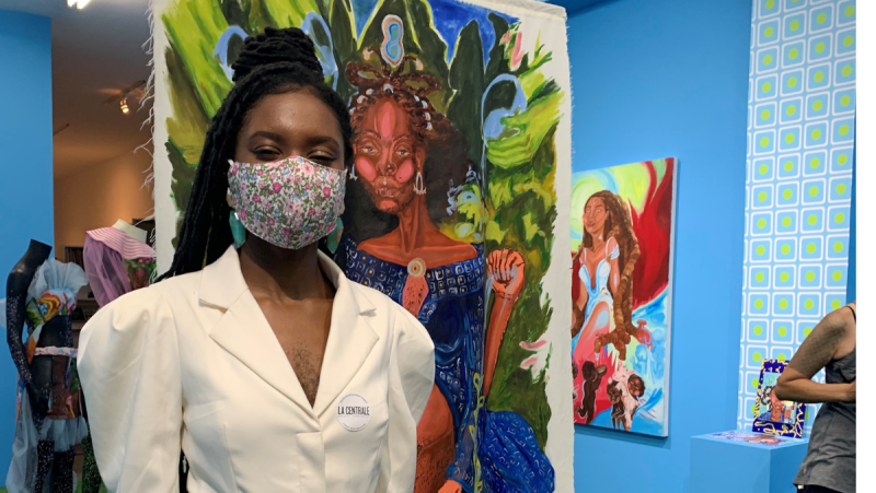 """Esther """"Queen Esie"""" Calixte-Bea's solo show at La Centrale Gallery in Montreal celebrates women with body hair in an explosion of colour and fantasy. (Daniel J. Rowe/CTV News)"""