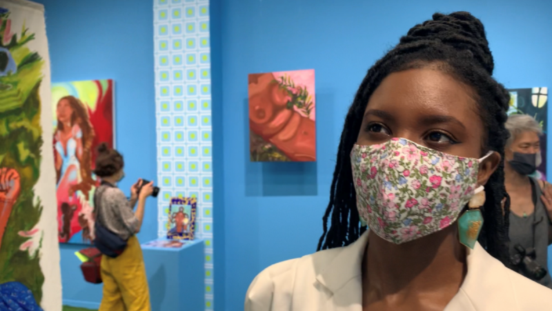 """Esther Calixte-Bea at the opening of her solo art show """"Creation of an Ethereal World"""" which runs until the end of October in Montreal."""