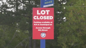The Town of Wasaga Beach closes lots as a massive car rally rolls into the area on Fri., Sept. 24, 2021 (Rob Cooper/CTV News)