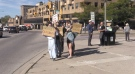 A rally for action on climate change is held in London, Ont. on Friday, Sept. 24, 2021. (Bryan Bicknell / CTV News)