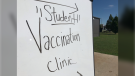 A pop-up vaccine clinic is held inside and outside of St Joseph's high school in Windsor, Ont. on Friday, Sept. 24, 2021. (Michelle Maluske/CTV Windsor)