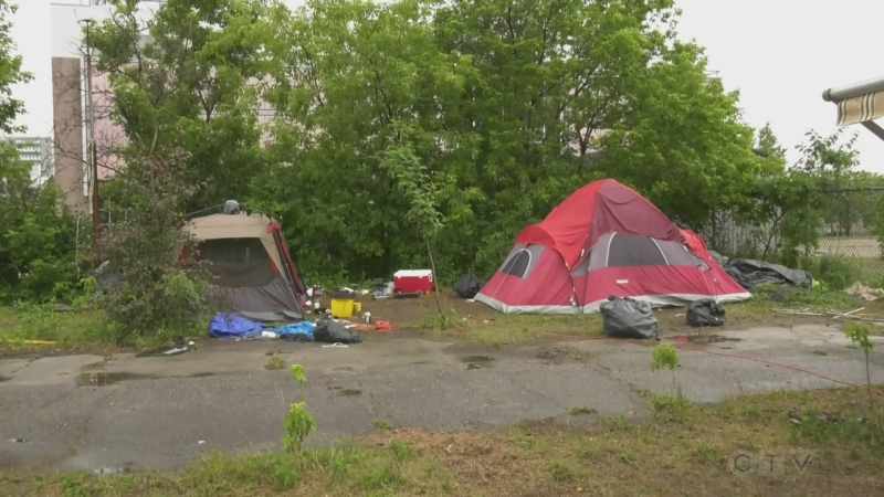 Tents set up in North Bay as homelessness crisis grows. Sept. 24/21 (Eric Taschner/CTV Northern Ontario)