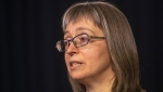 Dr. Deena Hinshaw, Alberta's chief medical officer of health, provides an update on COVID-19 in Edmonton, Friday, Aug. 13, 2021. THE CANADIAN PRESS/Jason Franson
