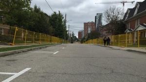 Ezra Avenue has been fenced off ahead of Homecoming weekend. (Nicole Lampa/CTV News)