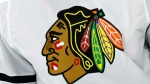 The Chicago Blackhawks logo is shown on a jersey in Raleigh, N.C., in this May 3, 2021, file photo. (AP Photo/Karl B DeBlaker)
