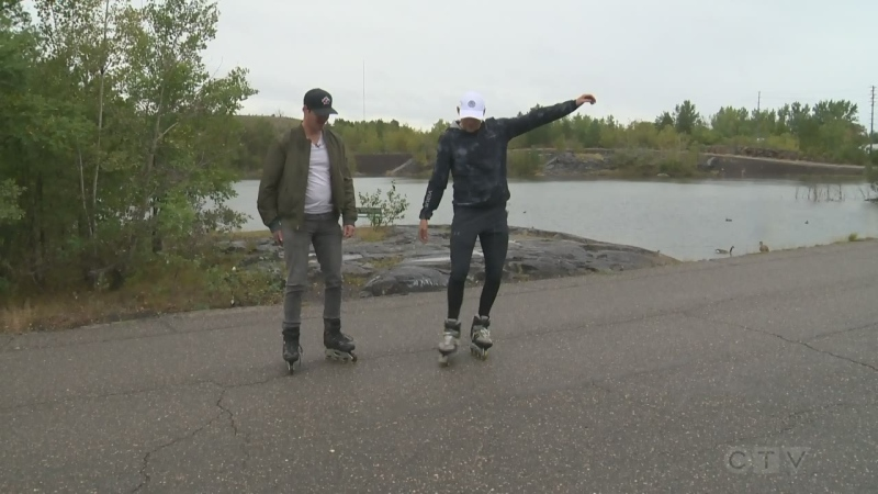 Exploring the outdoors on rollerblades