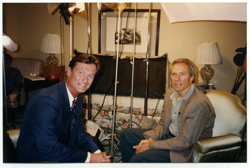 Pyramid Productions founder Larry Day interviewed some of the most famous people in the world over the course of a career as a reporter, news anchor, writer, producer, director and composer. Here, he speaks with Oscar winner Clint Eastwood. Day died Thursday in Calgary.