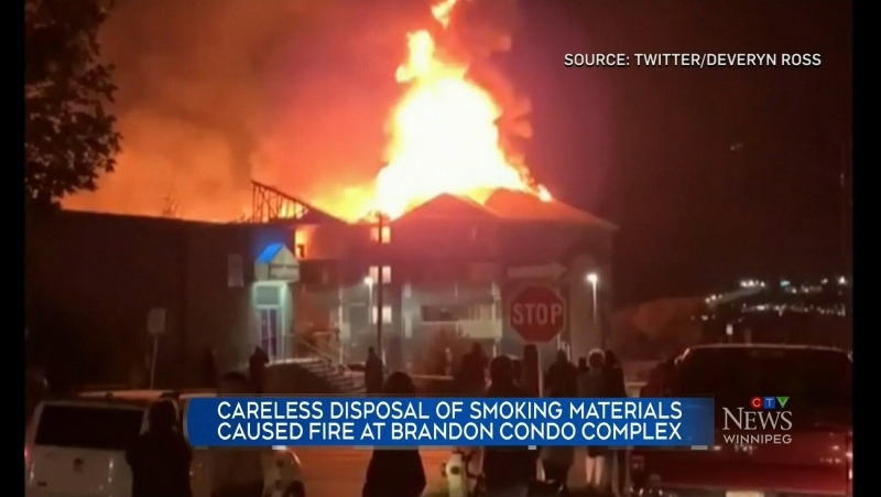 What caused a massive fire in Brandon