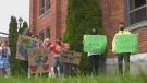 Students in Orillia, Ont., hold a strike to push for climate change on Fri., Sept. 24, 2021 (Katelyn Wilson/CTV News)