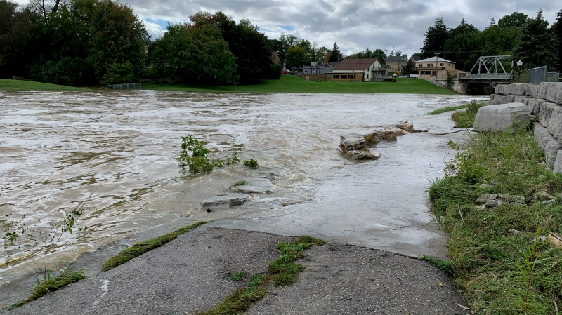 Water levels are subsiding along the Nith River in New Hamburg. Photo taken Sept. 24, a day after record rainfall in southern Ontario. (Jessica Smith/CTV Kitchener)