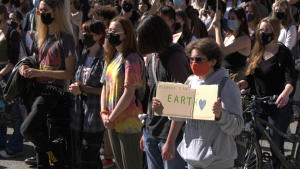 Students rally for climate change in Victoria's Centennial Square on Sept. 24, 2021. (CTV News)