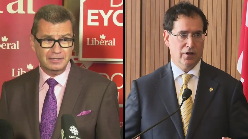 Liberal candidate Doug Eyolfson (left) and Conservative incumbent candidate Marty Morantz (right) await the results of a recount after Morantz was re-elected by a margin of 24 votes. (Source: CTV News Winnipeg)