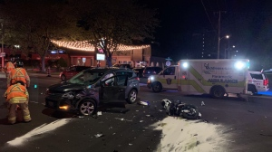 An SUV and motorcycle collision on Wharncliffe Road on Sept. 24, 2021. (Bryan Bicknell / CTV News)