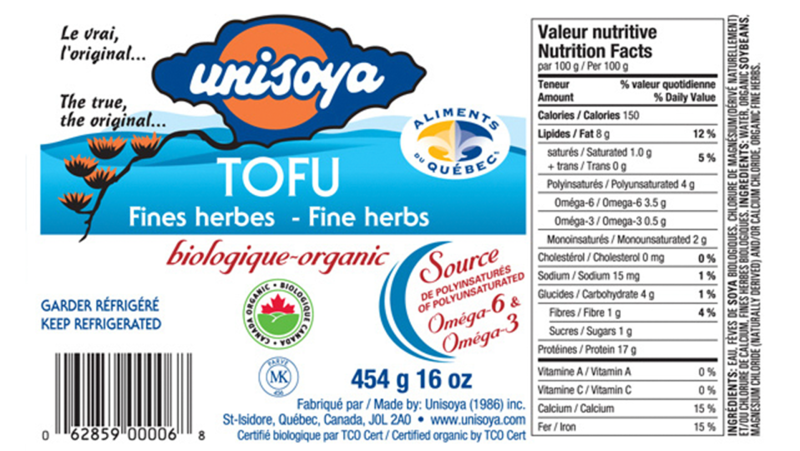Unisoya Inc. recalled their organic tofu with fine herbs product, which it says could be contaminated with a dangerous bacteria, on Sept. 25, 2021. (Image source: Canadian Food Inspection Agency)