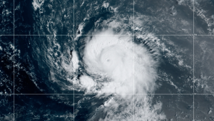 Hurricane Sam, seen in this satellite image, has been strengthening over the Atlantic Ocean. (NOAA)