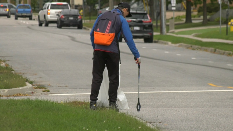 Armed with litter bags and trash tongs, the clean up crews of Clean, Green, Beautiful North Bay were out in different areas around the city cleaning up disposed litter. Sept.25/21 (Eric Taschner/CTV News Northern Ontario)