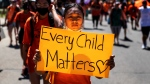 People march for residential school children during an anti-Canada Day rally in Edmonton Alta, on Thursday, July 1, 2021.THE CANADIAN PRESS/Jason Franson