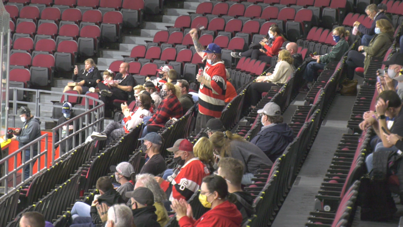 Ottawa 67's fans say they're thrilled to be back in the stands at TD Place Arena, after the COVID-19 pandemic put a halt to in-person sporting events. (Jackie Perez / CTV News Ottawa)