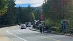 Search and rescue crews gathered at a bridge near Quest University on Saturday to recover the body of missing 15-year-old Richie Stelmack. (CTV)